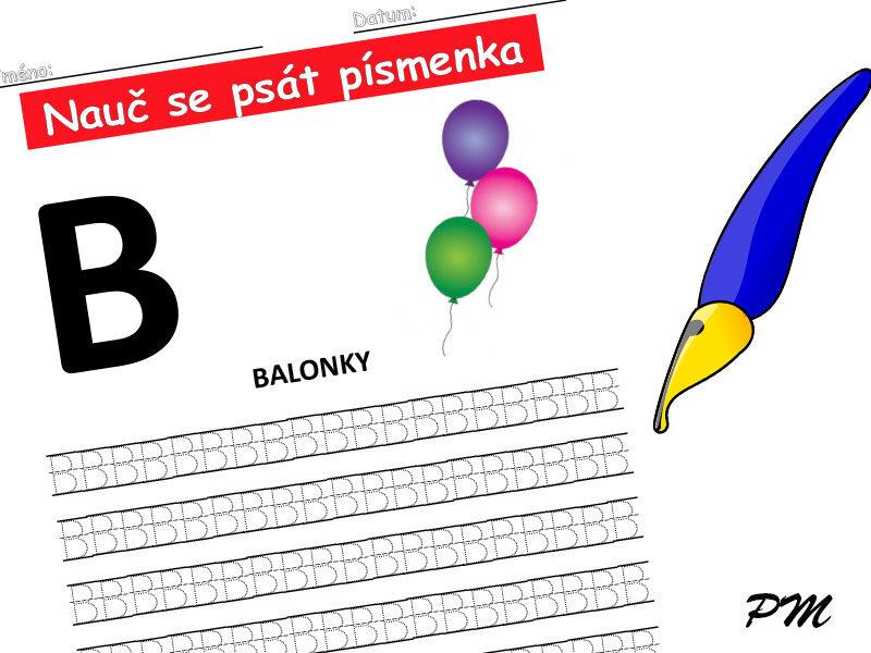 Učíme se psát písmenka – B