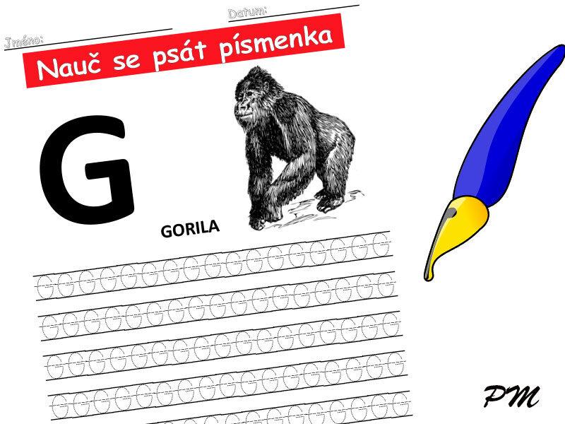 Učíme se psát písmenka – G
