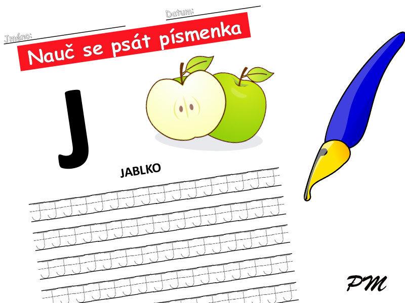 Učíme se psát písmenka – J