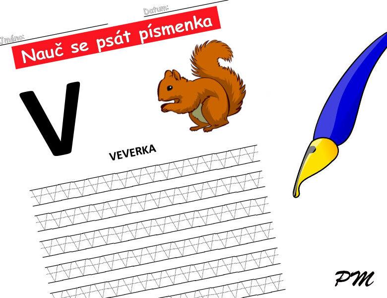 Učíme se psát písmenka – V