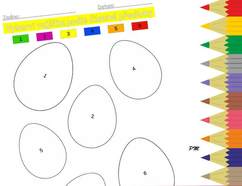 Vybarvování podle číselné předlohy – velikonoční vajíčka 1
