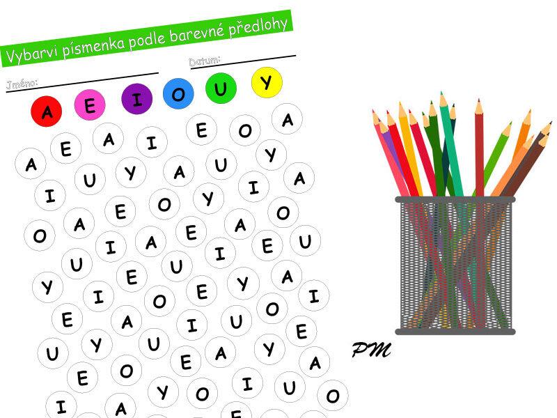 Vybarvování podle barevné předlohy – písmena 1